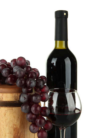 composition of wine,wooden barrel and grapes isolated on white photo