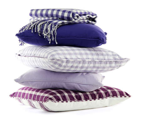 Hill colorful pillows isolated on white photo