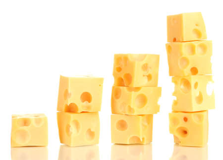 Cheese cubes isolated on white photo
