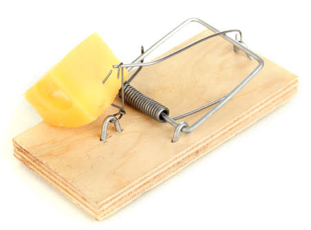 Mousetrap with cheese isolated on white Stock Photo - 17263396