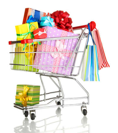 Christmas gifts and shopping in trolley isolated on white Stock Photo - 17263504