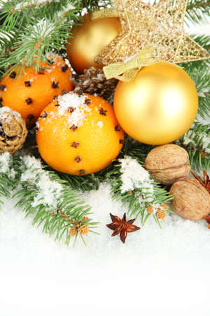 christmas composition with oranges and fir tree, isolated on white Stock Photo - 17292278