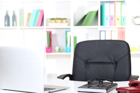 empty workplace at office Stock Photo