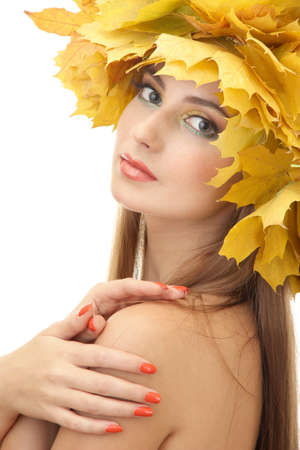 beautiful young woman with yellow autumn wreath, isolated on white Stock Photo - 17292017