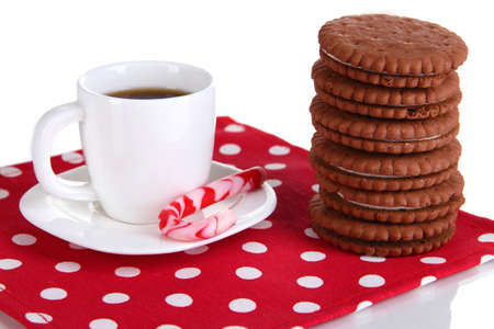 Chocolate cookies with creamy layer and cup of coffe isolated on white Stock Photo - 17292003