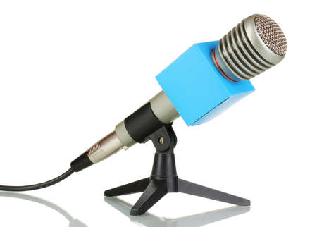 Microphone on stand isolated on white photo