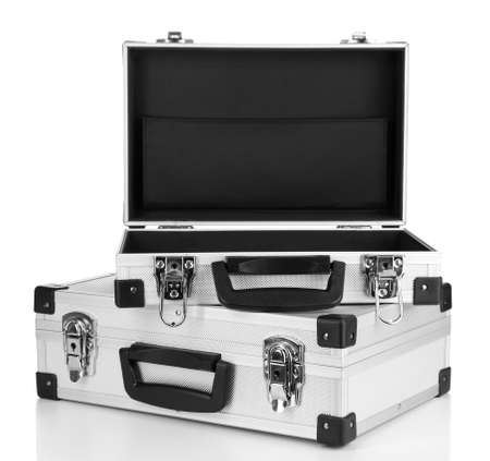 Opened silvery suitcases isolated on white Stock Photo - 17291455