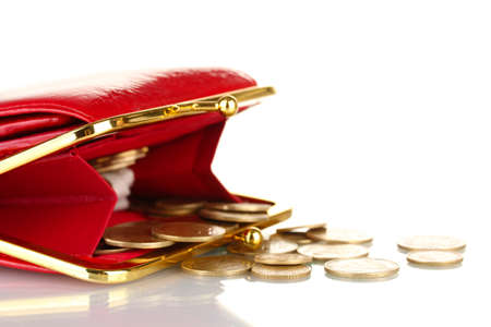 takings: female red wallet with coins isolated on white