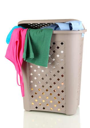 Beige laundry basket isolated on white Stock Photo - 17291897