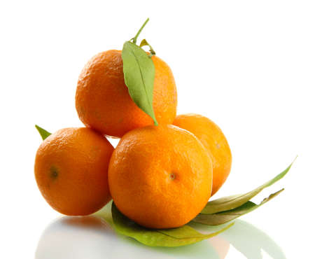 Ripe sweet tangerines with leaves, isolated on white Stock Photo - 17290911