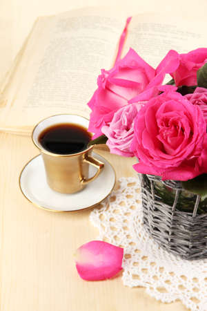 Beautiful pink roses in vase on wooden table close-up Stock Photo - 17291893