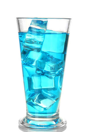 Blue Lagoon cocktail isolated on white photo
