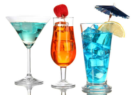 Alcoholic cocktails with ice isolated on white photo