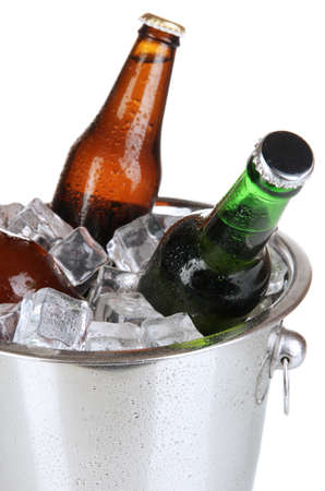 Beer bottles in ice bucket isolated on white Stock Photo - 17291869