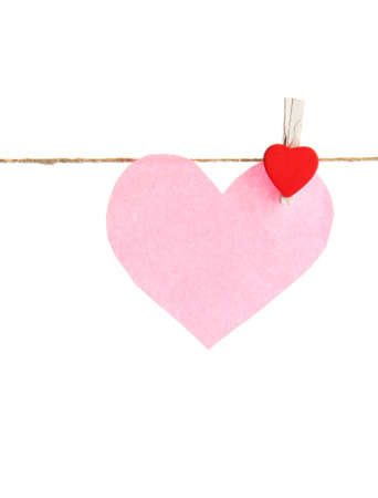paper heart on rope, isolated on white Stock Photo - 17289952
