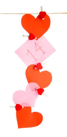 paper hearts and card on rope, isolated on white Stock Photo - 17289950