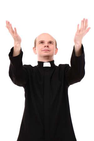 predicador: Sacerdote joven aislado en blanco Foto de archivo