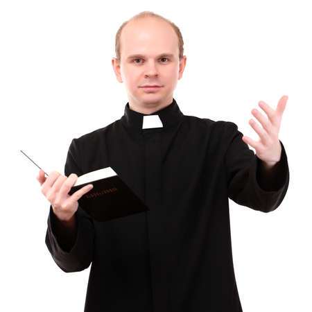 Young pastor with Bible, isolated on white