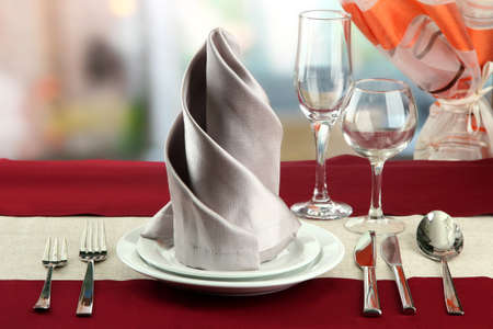 holiday table setting at restaurant photo