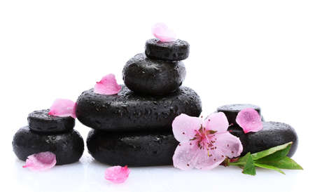 Spa stones with drops and pink sakura flowers isolated on white Stock Photo - 17291449