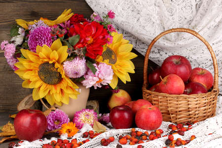 Colorful autumn still life with apples Stock Photo - 17363011