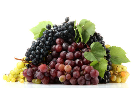 assortment of ripe sweet grapes isolated on white  photo
