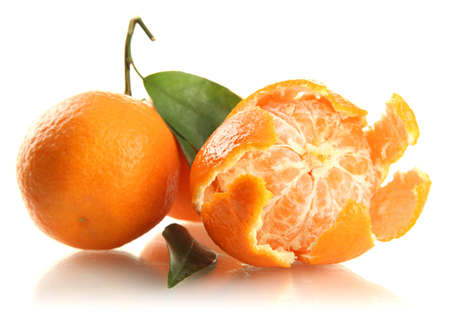 Ripe sweet tangerines with leaves, isolated on white Stock Photo - 17348556