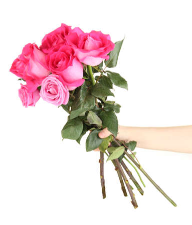 Beautiful pink roses in hand isolated on white Stock Photo - 17348623