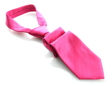 pink tie isolated on white photo