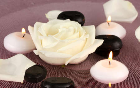 spa stones with flower and candles in water on plate photo