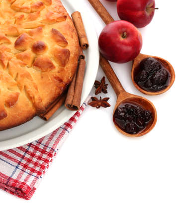 tasty homemade pie, apples and jam, isolated on white photo