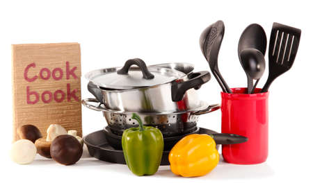composition of kitchen tools and vegetables isolated on white Stock Photo - 17348573