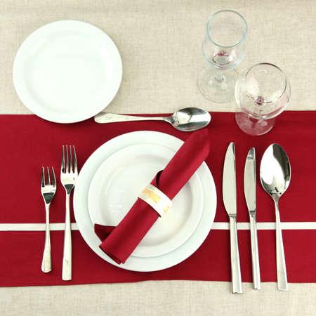 瀬戸物: 休日のテーブルの設定、クローズ アップ 写真素材