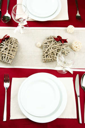 romantic table setting, close up photo