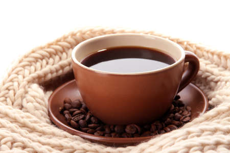 cup of coffee with scarf close-up photo