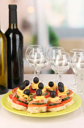 Canapes and wine in restaurant Stock fotó