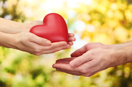 heart health: Red heart in woman and man hands, on green background