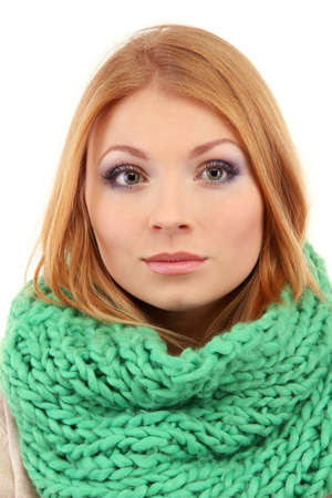 Young beautiful woman wearing winter clothing, isolated on white Stock Photo - 17544498