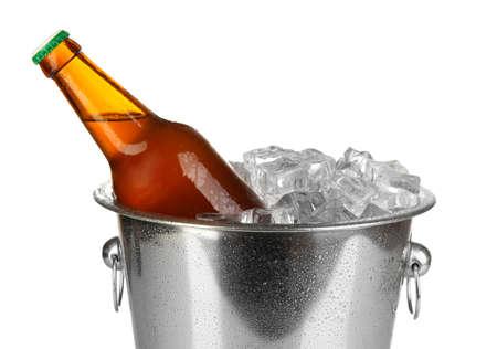 Beer bottle in ice bucket isolated on white Stock Photo - 17399414