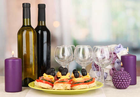 Canapes and wine in restaurant Stock Photo - 17458879