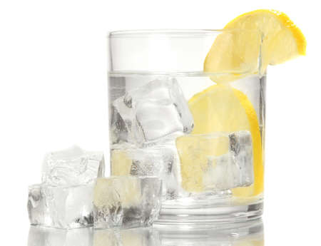Ice cubes in glass with lemon isolated on white Stock Photo - 17458771