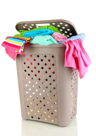Beige laundry basket isolated on white Stock Photo - 17458793