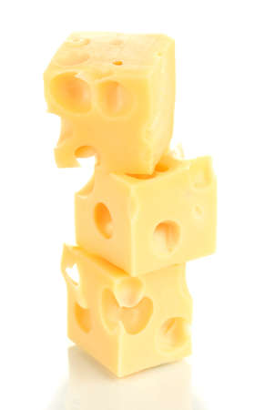 Cheese cubes isolated on white Stock Photo - 17458705