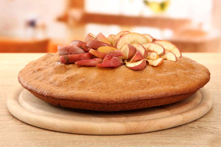 tasty homemade pie with apples, on wooden table in cafe Stock Photo - 17477207
