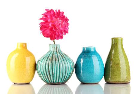 flower vase: Decorative ceramic vases isolated on white Stock Photo