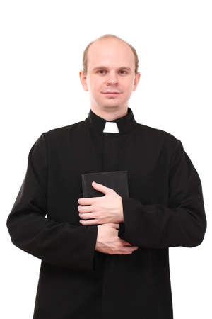 Young pastor with Bible, isolated on white photo