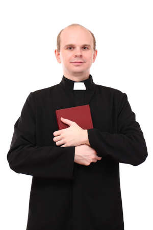 reverent: Young pastor with Bible, isolated on white