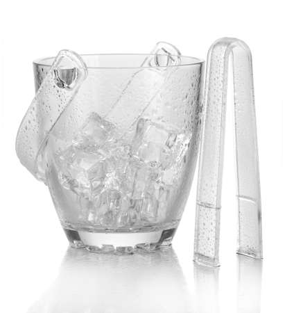 Glass ice bucket isolated on white Stock Photo - 17511969