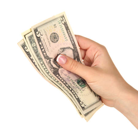 recounts: Female hand with dollars, close up, isolated on white