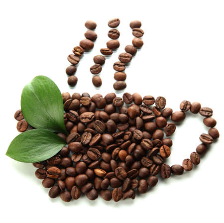 green bean: Coffee beans with leaves isolated on white Stock Photo